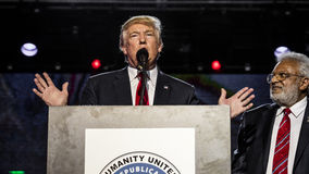 OCTOBER 15, 2016, EDISON, NJ - Donald Trump speaks at Edison New Jersey Hindu Indian-American rally for 'Humanity United Against T Stock Photos
