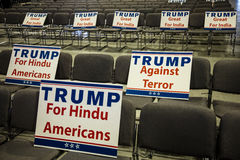 OCTOBER 15, 2016, EDISON, NJ - Indian American signs for Donald Trump rally in Edison New Jersey Hindu Indian-American rally for ' Royalty Free Stock Photos