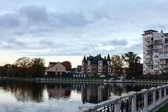October 19, 2017, the embankment in Kaliningrad, a picturesque landscape royalty free stock photos