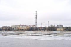 October embankment of Neva River, outskirts of St.Petersburg. Royalty Free Stock Photos