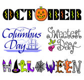 October Events Clip Art Set/eps royalty free illustration