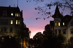 On an october fall evening buildings, lightened windows and stre Royalty Free Stock Photography