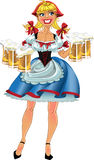 October fest blond girl with beer.  Royalty Free Stock Photo