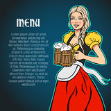 October fest waitress with beer mugs in hands. Vector bar menu background. Stock Photo