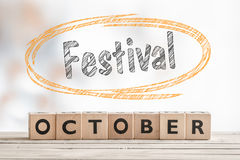 October festival sign made of wood Stock Image