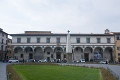 Piazza di Santa Maria Novella in Florence with background in the stock photo