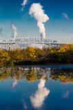 OCTOBER 15, 2016, George C. Platt Memorial Bridge and refinery smokestack, South of Philadelphia, PA Royalty Free Stock Photo