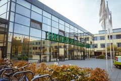 October 19, 2018 Germany. Clinic Helios Krefeld. Bicycle ecological mode of transport in Europe. Bicycle parking on the territory. Of the hospital clinic in stock image