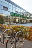 October 19, 2018 Germany. Clinic Helios Krefeld. Bicycle ecological mode of transport in Europe. Bicycle parking on the territory. Of the hospital clinic in stock images
