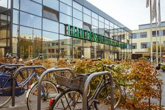 October 19, 2018 Germany. Clinic Helios Krefeld. Bicycle ecological mode of transport in Europe. Bicycle parking on the territory. Of the hospital clinic in royalty free stock images