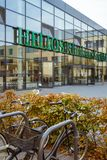 October 19, 2018 Germany. Clinic Helios Krefeld. Bicycle ecological mode of transport in Europe. Bicycle parking on the territory. Of the hospital clinic in stock photo