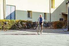 October 19, 2018 Germany. Clinic Helios Krefeld. Bicycle ecological mode of transport in Europe. Bicycle parking on the territory. Of the hospital clinic in royalty free stock photo