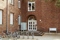 October 19, 2018 Germany. Clinic Helios Krefeld. Bicycle ecological mode of transport in Europe. Bicycle parking on the territory. Of the hospital clinic in royalty free stock photography