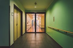 October 2018. Germany Helios Klinikum Krefeld. Interior hospital inside. Spacious deserted corridors of station, floor of new hosp. Ital, German European royalty free stock photography