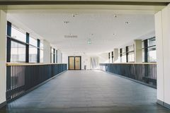 October 2018. Germany Helios Klinikum Krefeld. Interior hospital inside. Spacious deserted corridors of station, floor of new hosp. Ital, German European royalty free stock image