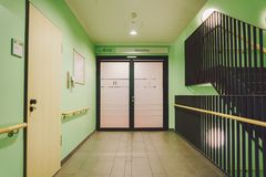 October 2018. Germany Helios Klinikum Krefeld. Interior hospital inside. Spacious deserted corridors of station, floor of new hosp. Ital, German European royalty free stock photo