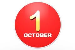 October 1 gold 3D. October 1 3D,gold October 1,white background royalty free illustration