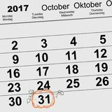 31 October 2017 Halloween. Calendar date reminder form pumpkin lantern. Vector illustration Stock Images