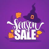 31 October, Halloween sale banner with witch hat autumn leaves a Stock Images