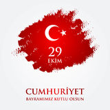 29 October Happy Republic Day Turkey. 29 Ekim Cumhuriyet Bayraminiz kutlu olsun. Translation: 29 october Happy Republic Day Turkey. Greeting card design Royalty Free Stock Images