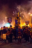 17 October, 2015, Hastings, UK, Effigy being paraded through streets with torchlight procession. Royalty Free Stock Photo