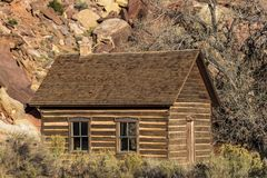 Historic Butch Cassidy Cabin in Fruita, Utah outside of Zion Nat. OCTOBER 26,2017 Historic Butch Cassidy Cabin in Fruita, Utah outside of Zion National Park Royalty Free Stock Photo