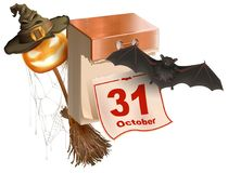 October 31 holiday of Halloween. Tear-off calendar. Halloween accessory pumpkin lantern, bat, broom, spider web, hat Stock Photo