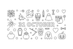 31 October Holiday horizontal outline vector illustration. 31 October Holiday horizontal outline illustration. Vector Halloween poster or flyer made with linear royalty free illustration