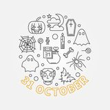 31 October Holiday round outline vector illustration. 31 October Holiday round outline illustration. Vector Halloween poster or flyer made with linear icons vector illustration