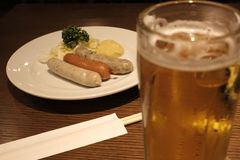 Quick lunch with sausages and one beer