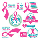 19 October - International Day of Breast Cancer - creative vector badges set. Breast cancer awareness. Hope for a cure.