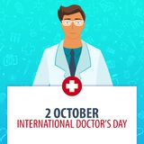 2 October. International Docrors Day. Medical holiday. Vector medicine illustration. 2 October. International Docrors Day. Medical holiday. Vector medicine Stock Image