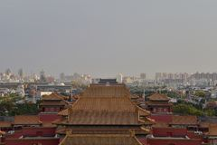 In October 29, 2017 Jingshan Hill Chunting million. Boarded the Jingshan Hill Chunting million, from Chunting million, the South can see the Imperial Palace stock photo