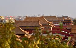 In October 29, 2017 Jingshan Hill Chunting million. Boarded the Jingshan Hill Chunting million, from Chunting million, the South can see the Imperial Palace Stock Photos
