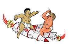 October 31, 2017: Kim Jong Un and Donald Trump as fighting toddlers vector cartoon. October 31, 2017: Kim Jong Un and Donald Trump illustration. Fighting Stock Photography