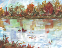 OCTOBER LAKE Autumn landscape with ducks, watercolors Royalty Free Stock Images