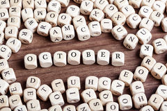 October, letter dices word Royalty Free Stock Photos