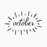 October lettering. Brushen lettering of september, october, november. Autumn month calligraphy in black ink, glitter. Template for calendar, postcard, print Royalty Free Stock Photography