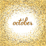 October lettering. Brushen lettering of september, october, november. Autumn month calligraphy in black ink, glitter. Template for calendar, postcard, print Stock Images