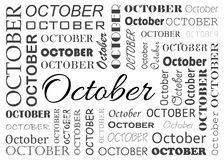 OCTOBER lettering in various font types. OCTOBER month lettering in various font types Royalty Free Stock Photos