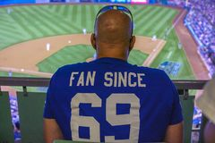 OCTOBER 26, 2018 - LOS ANGELES, CALIFORNIA, USA - DODGER STADIUM: Dodger Fans - Dodgers defeat Boston Red Sox 3-2 in game 3, the l. Ongest game in World Series stock image