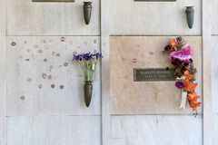 October 25 Marilyn`s Monroe crypt. October 25, 2017 - Los Angeles, California, USA: Actress Marilyn Monroe`s crypt with flowers and kisses at Westwood Memorial royalty free stock images