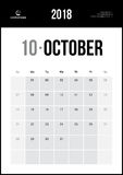 OCTOBER 2018. Minimalist Wall Calendar. Modern and Clean Minimalist Wall Calendar Royalty Free Stock Images