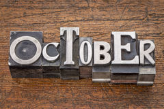 October month in metal type Stock Image