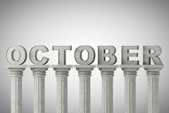 October month sign on a classic columns Stock Image
