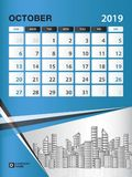 OCTOBER 2019 Month template, Desk Calendar for 2019 year, week start on sunday, planner. Stationery, Blue Concept, vertical layout vector illustration Stock Photography