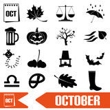 October month theme set of simple icons Stock Photography