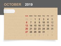 October 2019 - Monthly calendar on brown paper and wood background with area for note. Vector illustration vector illustration