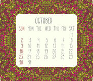 October 2016 monthly calendar. October 2016 vector monthly calendar over lacy doodle hand drawn background, week starting from Sunday Stock Image