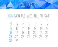 October 2016 monthly calendar Stock Photos